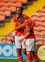 Football - 2021 / 2022 EFL Carabao Cup - Round Two - Blackpool vs. Sunderland -Bloomfield Road - Tuesday 24th August 2021<br /> <br /> Shane Lavery of Blackpool celebrates with Richard Keogh after he puts the home side 1-0 up in the first half, at Bloomfield Road.<br /> <br /> COLORSPORT/Alan Martin