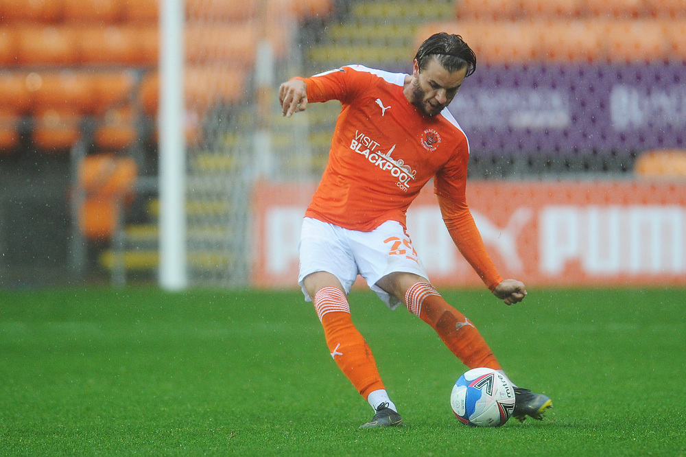 Blackpool's Luke Garbutt<br /> <br /> Photographer Kevin Barnes/CameraSport<br /> <br /> The EFL Sky Bet League One - Blackpool v Lincoln City - Saturday 3rd October 2020 - Bloomfield Road - Blackpool<br /> <br /> World Copyright © 2020 CameraSport. All rights reserved. 43 Linden Ave. Countesthorpe. Leicester. England. LE8 5PG - Tel: +44 (0) 116 277 4147 - admin@camerasport.com - www.camerasport.com
