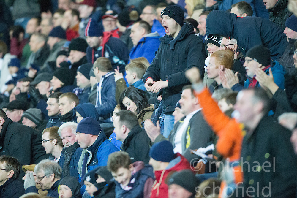 South stand after Falkirk's first goal. <br /> Falkirk 3 v 2 Rangers, Scottish Championship game player at The Falkirk Stadium, 18/3/2016.