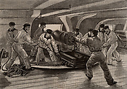 Cadets at the Ecole Navale, the French Naval Academy practicing handling naval cannon below decks of a warship.  From 'Le Journal de la Jeunesse' (Paris, c1870).  Engraving.