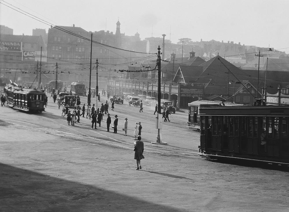 Waiting for trams, Circular Quay, Sydney, Australia, 1930