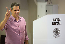 October 7, 2018 - Sao Paulo, Sao Paulo, Brazil - FERNANDO HADDAD, Brazil's presidential candidate by Workers Party (PT), votes in a school in Sao Paulo, Brazil. (Credit Image: © Paulo Lopes/ZUMA Wire)