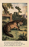 """A fox jumped up on a moonlight night, The stars were shining and all things bright, """"Oh, ho!"""" said the fox, """"it's a very fine night For me to go through the town, heigho ! """" From the book ' A apple pie and other nursery tales : forty-eight pages of illustrations : printed in colours by Kronheim & Co ' Published by  : George Routledge and Sons 1870"""
