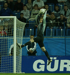 TEPLICE, CZECH REPUBLIC - Wednesday, April 30, 2003: Czech Republic's goalkeeper Petr Cech in action against Turkey during a friendly match at the Teplice Stadion Na Stinadlech. (Pic by David Rawcliffe/Propaganda)