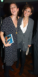 Left to right, ALICE IRWIN niece of hrh the Duchess of Cornwall and SHEHERAZADE GOLDSMITH  at a party to celebrate the publication of 'The year of Eating Dangerously' by Tom Parker Bowles held at Kensington Place, 201 Kensington Church Street, London on 12th october 2006.<br /><br />NON EXCLUSIVE - WORLD RIGHTS