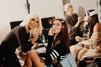 """Bella Hadid releases a photo on Instagram with the following caption: """"Happy Birthday Dona\ud83d\udda4\ud83d\udda4Thank you for everything. I am endlessly grateful for you in my life \ud83d\udda4 I love you !! \ud83d\udda4\ud83d\udda4 @donatella_versace"""". Photo Credit: Instagram *** No USA Distribution *** For Editorial Use Only *** Not to be Published in Books or Photo Books ***  Please note: Fees charged by the agency are for the agency's services only, and do not, nor are they intended to, convey to the user any ownership of Copyright or License in the material. The agency does not claim any ownership including but not limited to Copyright or License in the attached material. By publishing this material you expressly agree to indemnify and to hold the agency and its directors, shareholders and employees harmless from any loss, claims, damages, demands, expenses (including legal fees), or any causes of action or allegation against the agency arising out of or connected in any way with publication of the material."""
