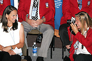 28 August 2006: 2006 Hall of Fame inductee Carla Overbeck (left) has her picture taken by Hall of Fame member and former teammate Carin Jennings-Gabarra (right). The National Soccer Hall of Fame Induction Ceremony was held at the National Soccer Hall of Fame in Oneonta, New York.