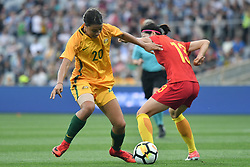 November 24, 2017 - Melbourne, Victoria, Australia - SAM KERR (20) of Australia and ZUE JIAO (13) of China PR compete for the ball during an international friendly match between the Australian Matildas and China PR at GMHBA Stadium in Geelong, Australia. (Credit Image: © Sydney Low via ZUMA Wire)