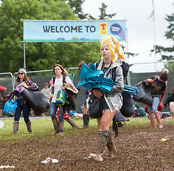 People leaving the campsite on Monday after the T in the Park 2016 weekend, Strathallan Castle, Perthshire.
