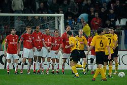 09-05-2007 VOETBAL: PLAY OFF: UTRECHT - RODA: UTRECHT<br /> In de play-off-confrontatie tussen FC Utrecht en Roda JC om een plek in de UEFA Cup is nog niets beslist. De eerste wedstrijd tussen beide in Utrecht eindigde in 0-0 / Gregoor van Dijk, Hans Somers, Robin Nelisse<br /> ©2007-WWW.FOTOHOOGENDOORN.NL