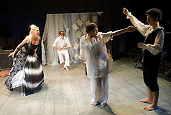 Prima La Musica<br /> Opera At Home Ensemble<br /> at The Arcola Theatre, London, Great Britain <br /> 25th August 2011 <br /> Rehearsal <br /> Grimeborn The Opera Festival<br /> directed by Jose Manuel Gandia<br /> <br /> Benjamin Gould (as Zanni 1)<br /> <br /> Leah Cooper (as Zanni 2)<br /> <br /> Victor Sgarbi (as Maestro)<br /> <br /> Alexia Mankovskaya (as Eleonora)<br /> <br /> Dario Dugandzic (as Poeta)<br /> <br /> <br /> Photograph by Elliott Franks