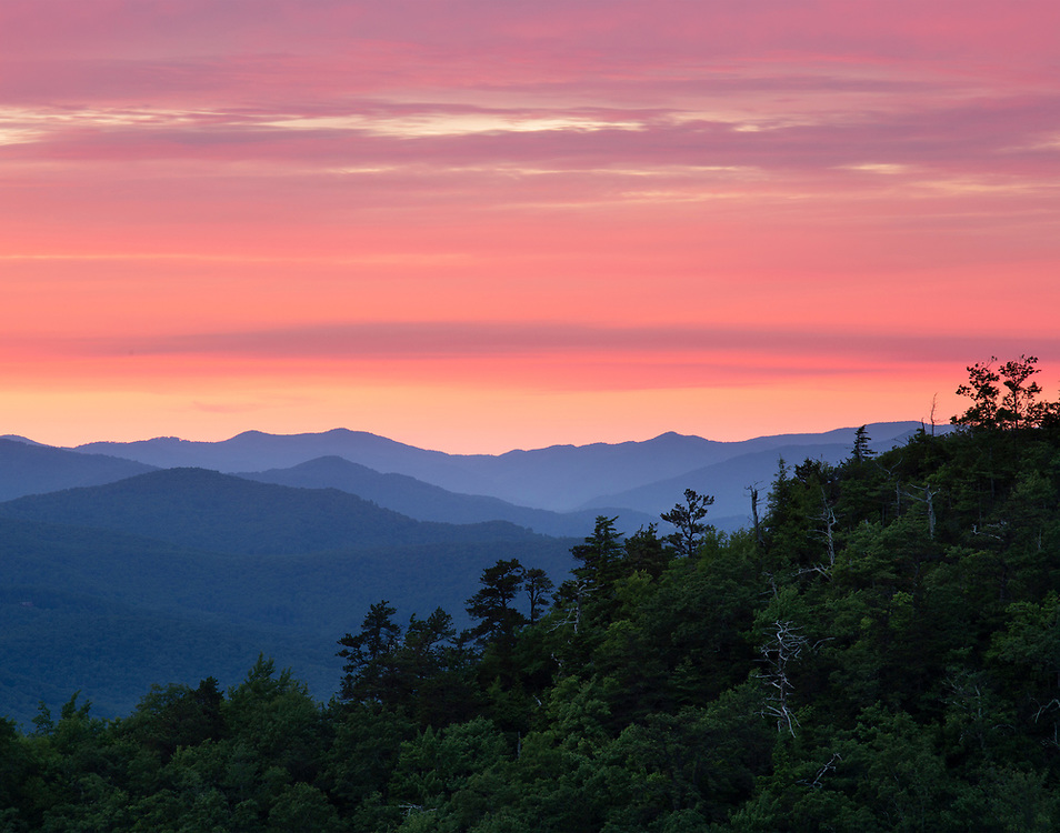 """Striped Sunset - along the Blue Ridge Parkway. N Carolina<br /> <br /> Available size:<br /> 14"""" x 11"""" <br /> See Pricing page for details. <br /> <br /> This looks really great printed as a canvas wrap triptych (3 panels hung side by side). Contact me for sizes and pricing. <br /> <br /> Please contact me for custom sizes and print options including canvas wraps, metal prints, assorted paper options, etc. <br /> <br />  I enjoy working with buyers to help them with all their home and commercial wall art needs."""