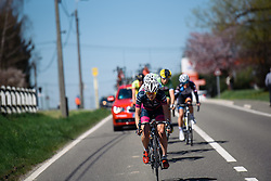 Lex Albrecht (BePink) leads the breakaway - Flèche Wallonne Femmes - a 137km road race from starting and finishing in Huy on April 20, 2016 in Liege, Belgium.