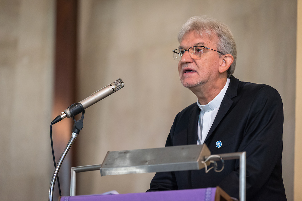 8 December 2019, Madrid, Spain: Vice president for the Latin American region of the Lutheran World Federation Rev. Dr Nestor Friedrich preaches as Christians from around the globe gather with local congregants in the Iglesia de Jesús in central Madrid, to celebrate an ecumenical prayer service during COP25.