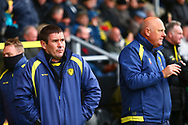 Burton Albion manager Nigel Clough feels the cold during the EFL Sky Bet League 1 match between Burton Albion and Peterborough United at the Pirelli Stadium, Burton upon Trent, England on 27 October 2018.
