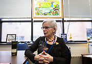 West High School principal Karen Boran speaks with the Capital Times during an interview at West High School in Madison, WI on Friday, April 12, 2019.