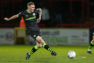 Forest Green Rovers Carl Winchester(7) passes the ball forward during the EFL Sky Bet League 2 match between Stevenage and Forest Green Rovers at the Lamex Stadium, Stevenage, England on 26 December 2019.