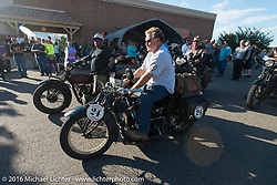 Kelly Modlin arrives at the finish on his 1927 Henderson Deluxe during Stage 10 (278 miles) of the Motorcycle Cannonball Cross-Country Endurance Run, which on this day ran from Golden to Grand Junction, CO., USA. Monday, September 15, 2014.  Photography ©2014 Michael Lichter.