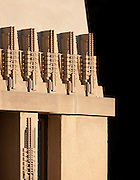 Western facade detail above living room..The Aline Barnsdall Hollyhock House, East Hollywood, Los Angeles, California USA designed by architect Frank Lloyd Wright 1919-1921