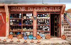 Tourist souvenir shop at the Tizi N Test Pass - altitude 2,100 metres in the High Atlas, Morocco, North Africa<br /> <br /> (c) Andrew Wilson | Edinburgh Elite media