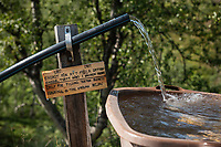 Driking water for hikers at Gisuris - Kisuris mountain hut along Padjelantaleden Trail, Padjelanta national park, Lapland, Sweden