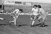 Cork about to hit the slitor up the field as Wexford attempts to tackle her during the All Ireland Senior Camogie Final Cork v Wexford in Croke Park on the 21st September 1975. Wexford 4-3 Cork 1-2.
