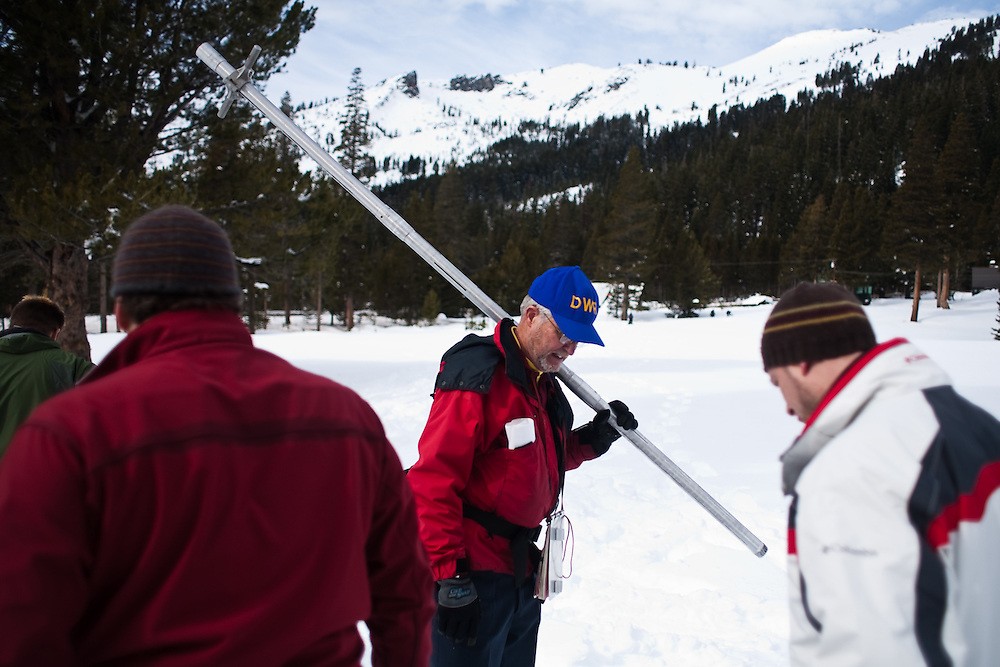 California Department of Water Resources conducted it's second snow survey of winter on January 29, 2010, near Lake Tahoe.   Precipitation was slightly above average, not enough to curb the pervasive California drought.