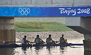 Shunyi, CHINA. USA M4-  Men's Four (M4-) Brett Newlin (s), <br /> Giuseppe Lanzone (3),  Paul Teti (2), David Banks (b), pass under the bridge on there way to the start. 2008 Olympic Regatta,  Saturday, 09.08.2008  [Mandatory Credit: Peter SPURRIER, Intersport Images]