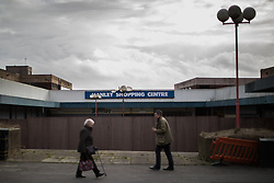 © Licensed to London News Pictures . 03/02/2017. Stoke-on-Trent, UK . People outside the long-derelict Hanley Shopping Centre in Hanley town centre in the constituency of Stoke-on-Trent Central . The by-election in the constituency is due to take place on 23rd February . Photo credit: Joel Goodman/LNP