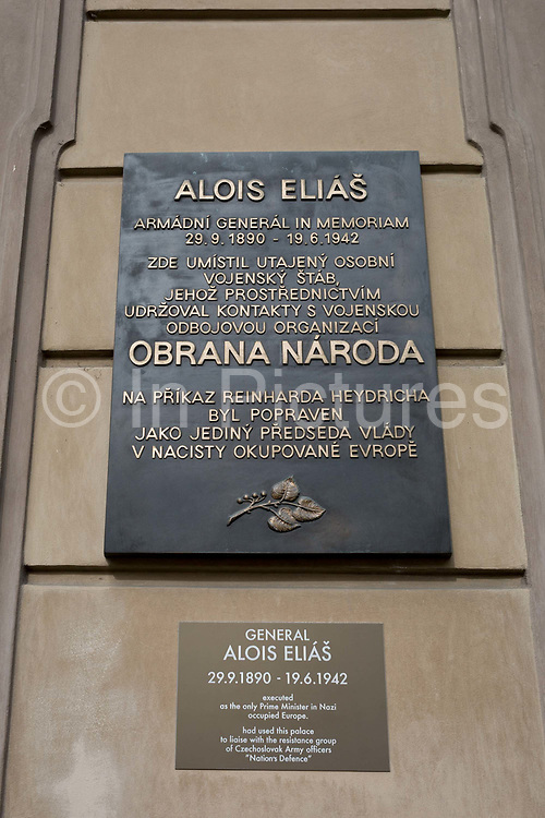 The memorial to Alois Elias outside Kolovrat Palace, on 18th March, 2018, in Prague, the Czech Republic. The commemorative plaque on the Kolovrat Palace building describes where members of Obrana Naroda ON Defence of the Nation, WW2 Czech resistance members liaised, and to pre-war Czech government statesman Alois Elias, executed by the Nazis in retaliation of the assassination of Reinhard Heydrich.