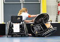 BREDA - Paragames 2011 Breda, zaterdag tijdens  de interland Nederland-Duitsland  bij het 4-landentoernooi Wheelchair Floorball Hockey, het  Nederlands handvoortbewogen rolstoelhockeyteam.  ANP COPYRIGHT KOEN SUYK