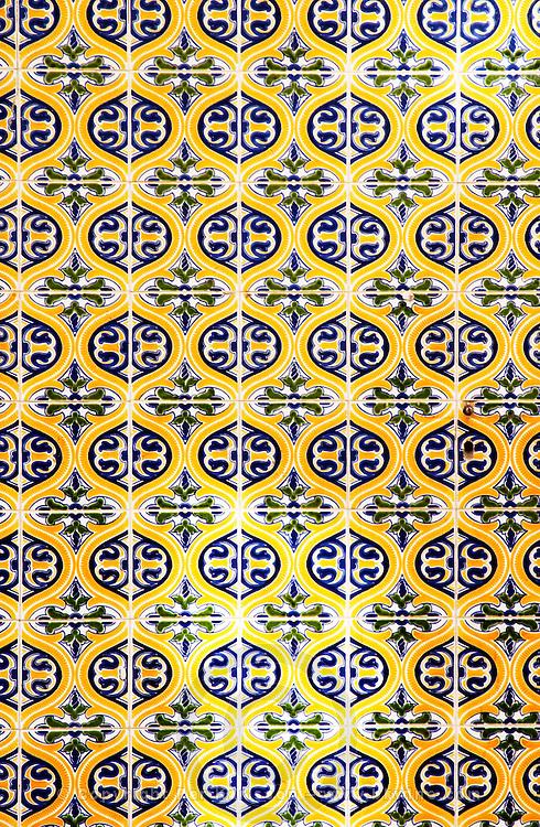 azulejos on a building wall bairro alto lisbon portugal
