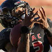 Santa Ana College wide receiver Malik Richards (3) catches a touchdown pass during the fourth quarter of the game against Grossmont College.