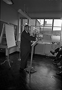 03/07/1963<br /> 07/03/1963<br /> 03 July 1963<br /> American executives of N.C.R. visit Dublin. Two top executives of the Dayton, Ohio, headquarters of the National Cash Register Company, one of the world's foremost manufacturers of cash registers, accounting machines and electronic computers, visiting Dublin. Picture shows Mr George Haynes, Vice President International Operations N.C.R., Dayton Ohio, speaking at the Kilmainham offices.