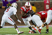 DALLAS, TX - AUGUST 30: Traylon Shead #34 of the SMU Mustangs breaks free against the Texas Tech Red Raiders on August 30, 2013 at Gerald J. Ford Stadium in Dallas, Texas.  (Photo by Cooper Neill/Getty Images) *** Local Caption *** Traylon Shead