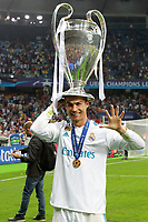 KIEV, UKRAINE - MAY 26: Cristiano Ronaldo of Real Madrid with a winners cup after winning the UEFA Champions League final between Real Madrid and Liverpool at NSC Olimpiyskiy Stadium on May 26, 2018 in Kiev, Ukraine. (MB Media)