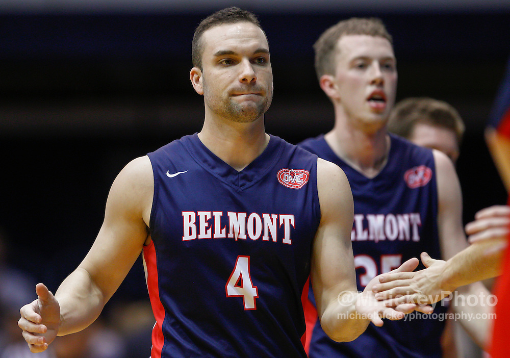 INDIANAPOLIS, IN - DECEMBER 28: Holden Mobley #4 of the Belmont Bruins walks to the bench during a timeout against the Butler Bulldogs at Hinkle Fieldhouse on December 28, 2014 in Indianapolis, Indiana. (Photo by Michael Hickey/Getty Images) *** Local Caption *** Holden Mobley