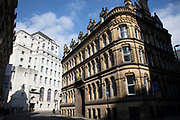 Old buildings of differing styles in Manchester, England, United Kingdom. Manchester is a major city in the northwest of England with an industrial heritage.