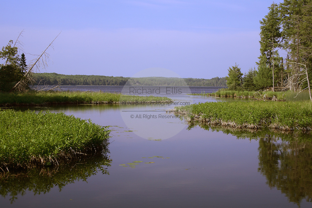 View of a fishing lake in the remote Northwoods of northern Wisconsin.
