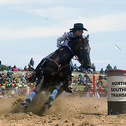 Charlotte Montgomary from Lincoln in action during the Open Barrel Race at the Southland Rodeo, Invercargill,  New Zealand. 29th January 2012