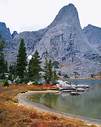 Lonesome Lake and 11,884 foot Pingora Peak, Cirque of the Towers, Wind River Range, Pope Agie Wilderness, Shoshone National Forest, Wyoming.