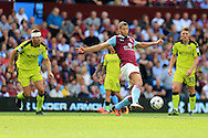 Rudy Gestede of Aston Villa © in action. EFL Skybet championship match, Aston Villa v Rotherham Utd at Villa Park in Birmingham, The Midlands on Saturday 13th August 2016.<br /> pic by Andrew Orchard, Andrew Orchard sports photography.