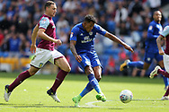 Nathaniel Mendez-Laing of Cardiff city shoots at goal after going past James Chester of Aston Villa (l) .EFL Skybet championship match, Cardiff city v Aston Villa at the Cardiff City Stadium in Cardiff, South Wales on Saturday 12th August 2017.<br /> pic by Andrew Orchard, Andrew Orchard sports photography.