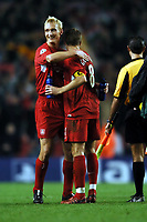 Fotball<br /> Champions League 2004/05<br /> Liverpool v Olympiakos<br /> 8. desember 2004<br /> Foto: Digitalsport<br /> NORWAY ONLY<br /> Sami Hyypia celebrates with Steven Gerrard after final whistle