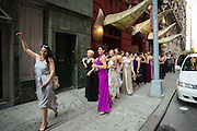Shandoah Goldman, choreographer of 23 Skidoo, leads the dance troupe out of the Gershwin Hotel to the Flatiron Building.