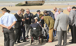 June 6, 2017 - Arromanches-Les-Bains, Normandy, France - Normandy, France. Former leader of UKIP, NIGEL FARAGE speaks to a group of WW2 veterans, all in their 90's, during a visit to Arromanches Beach in Normandy, France to mark the anniversary of the D-Day landings on June 1944. (Credit Image: © Jason Bryant/London News Pictures via ZUMA Wire)