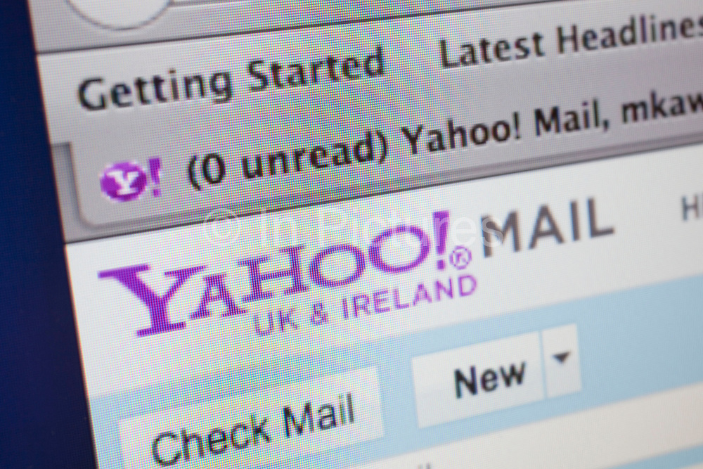 Computer screen showing the website for Yahoo Internet email service