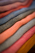 Close-up of colorful hand woven textiles, Pampaneira, Andalusia, Spain