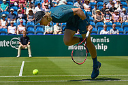 Denis Shapovalov of Canada stumbles during the Nature Valley International at Devonshire Park, Eastbourne, United Kingdom on 27 June 2018. Picture by Martin Cole.