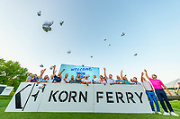"""OMAHA, NE - AUGUST 15: """"The 25"""" hat toss during the final round of the Korn Ferry Tour's Pinnacle Bank Championship presented by Aetna at The Club at Indian Creek on August 15, 2021 in Omaha, Nebraska.  (Photo by Andrew Wevers/PGA TOUR)"""